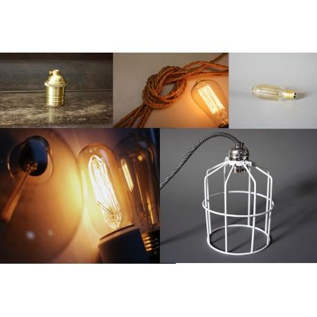 DIY Lampe (2m Kabel+Messing Fassung+Glühbirne+Gitter Lampenschirm)