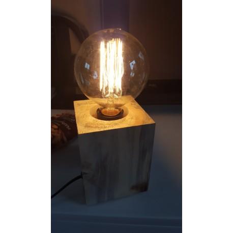 Design Holzlampe Holzwürfellampe aus Mango