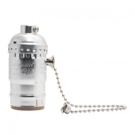 Aluminium Lampenfassung Zugschalter Silber