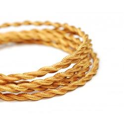 Vintage TextilStromKabel verseilt (gold-wiskey)