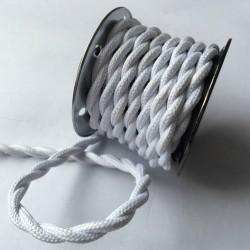 Vintage TextilStromKabel verseilt (weiß)