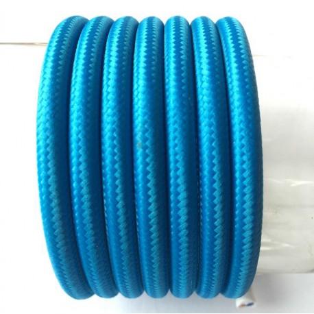 Vintage TextilStromKabel einfach (blau)