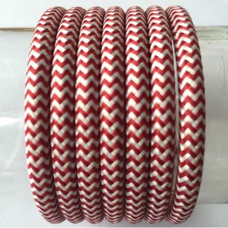 Vintage TextilStromKabel einfach (Zebra Rot-weiß)
