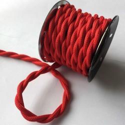 Vintage TextilStromKabel verseilt (Rot)