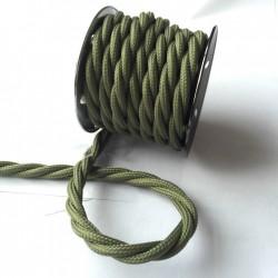 Vintage TextilStromKabel verseilt (Army Grün)