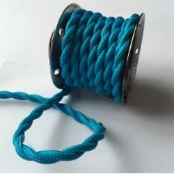 Vintage TextilStromKabel verseilt (Türkis)