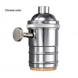 Kupfer E27 Lampenfassung mit drehschalter (Silber)