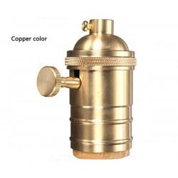 Kupfer E27 Lampenfassung mit drehschalter (Kupfer Gold)