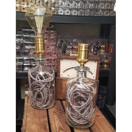 Upcycling Flaschen Lampe Grau (Geknüpft)